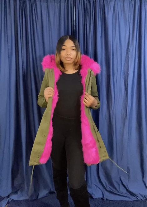 Color Fur Hooded Coat on SALE