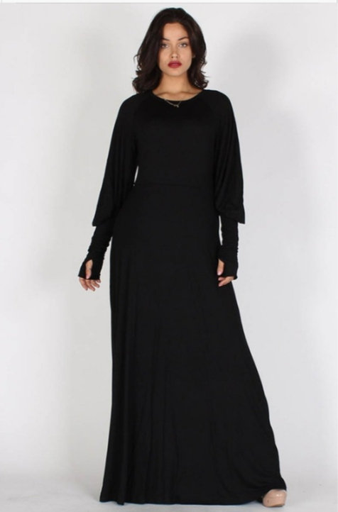 Black Thumb Hole Maxi Dress