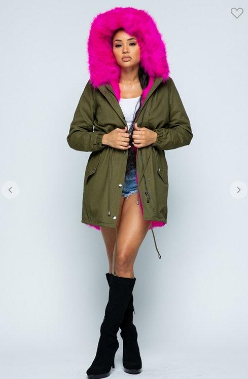 Color Fur Hooded Coat