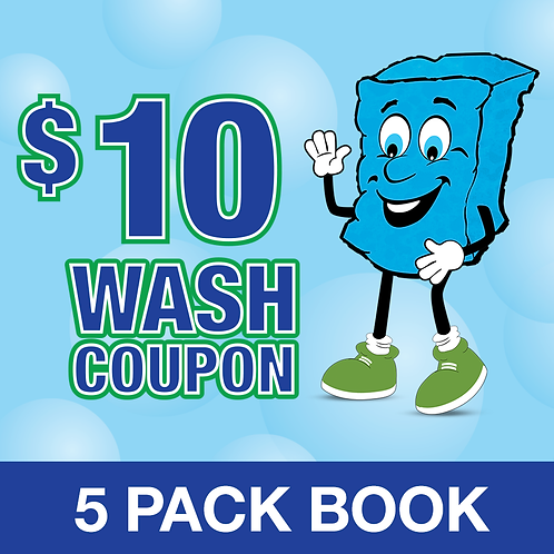 5 PACK $10 WASH COUPON BOOK - PY