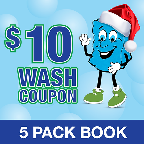 HOLIDAY 5 PACK $10 WASH COUPON BOOK - PY