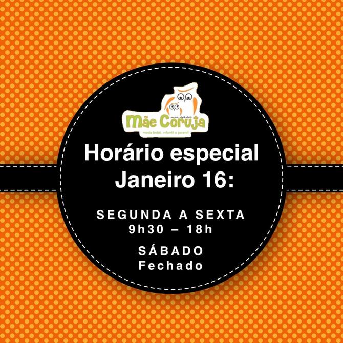 Horário Especial Janeiro 2016
