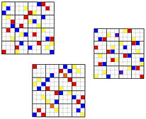 Three 12x12 squares with blue, yellow, and red cells placed torepresent the tone row used in this piece. When the red and yellow land on the same cell, they make orange; when blue and red overlap, they make purple.
