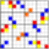 A 12x12 square with blue, yellow, and red cells placed torepresent the tone row used in this piece. When the red and yellow land on the same cell, they make orange.