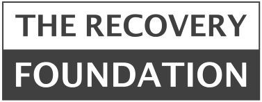 A black and white The Recovery Foundation logo
