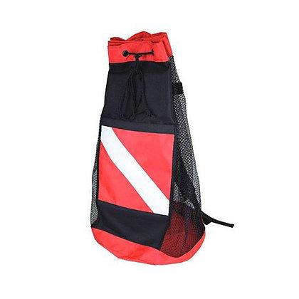 mesh dive backpack with drawstring closure