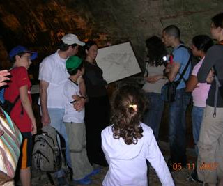 Friday morning activity: Left – Tour in West Wall Tunnel (Royee, Zohar&Omer, Guide, Netta, Nirel, Shunit's friend and Shunit and the back of Inbar). Right – Picnic near Bell-Garden (Yamin-Moshe).