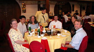 Beijing Duck Restaturant:  Left to Right  -  Mrs. Szabo, Li-yeng Sung,  Sue Brenner, ZY,  Simon Labrunie and Ernst Rank  During the WCCM6 conference – Beijing, China, Sep. 2004