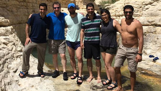 April 2017 – Hike along Arugot Spring, near Dead Sea with Suku  - (From left) Itay, Zohar, Kuti, N. Sukumar, Gal, Ofry.