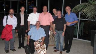Oct 2008 – Left – A. Harshaga, D. Givoli, ZY, G. Karniadakis, I. Harari , A. Yakhot, E. Or, M   Down -  E. Gal.  After ISCM-25 hosted at BGU, Israel, at the restaurant Arabika.