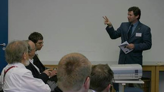 May 2007 – HOFEM07 conference: Left – Elad, T. Hughes and ZY: Tom explaining on blood-flow simulation. Center: ZY in one of the sessions. Right: Banquet dinner.