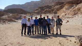 Feb 2015 – GIF meeting in Eilat - Picture taken by Stefan K. at Timna Park. (From left) Stefan Kollmannsberger,  Angelika & Ernst Rank, Zohar, Laszlo Kudela, Rogin Gilbert, Stefan and Birgit Hartmann, Ofry Yosef.