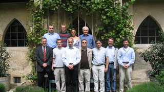 At the hotel,  during the trip in Kassel, and a group picture:  Left Picture, Left to Right  - Uli Heisserer, Wolfgang Bier, Mart Martines-Wagnera,  Alexander Duester, Moty Szanto, Stefan Hartman, ZY and Nahum Frage.  Right Picture – Stefan, ZY and Uli.– During the GIF 3-rd meeting organized by the Kassel group at AltMorschen, Germany, May 2005.