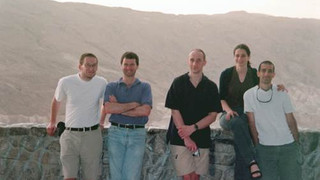 The visit of Stefan and Wolfgang (GIF project):  Left -  with Moshe and Nahum. Right – with Netta and Nirel on the way to the Dead-Sea  –        Beer-Sheva, Israel, March. 2004