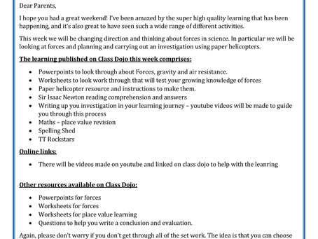 Year 5 - Home Learning 4th May