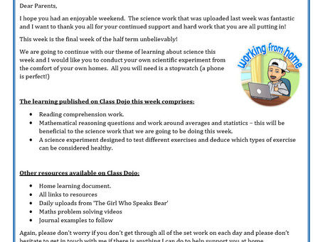 Year 6 - Home Learning 18th May