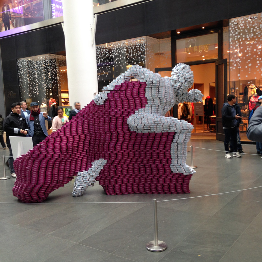 The completed sculpture on display at Brookfield Place.