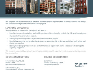 New AIA CES Course: Managing Risk in the Design & Construction of Property-Line Construction Pro