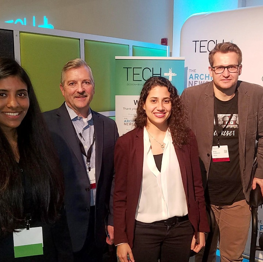 Nidhi Sekhar with Lighting Talk Judges at Tech+