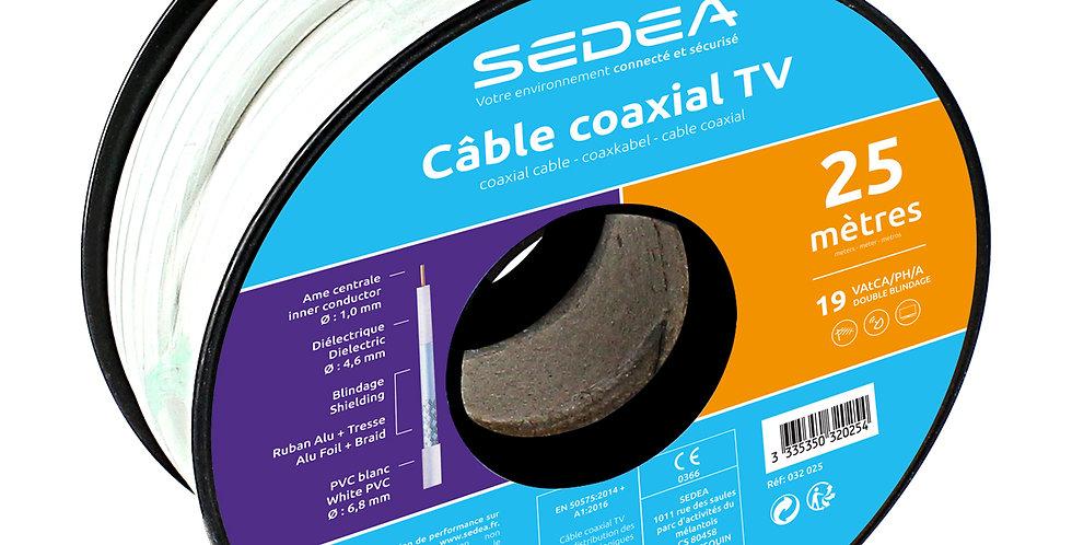 Câble coaxial 19 VAtCA/PH/A Double Blindage en bobine de 25 mètres - blanc