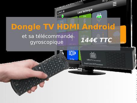 Dongle TV HDMI Android WIFI+RJ45 et sa télécommande pour 144€ TTC