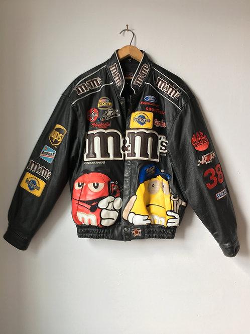 Vintage M&Ms NASCAR Leather Jacket
