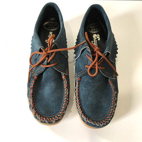 1970s Easy Steps Blue Suede Moccasins