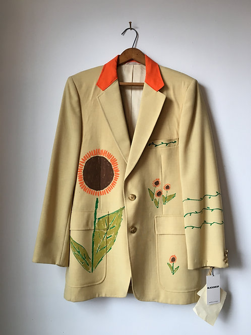 1970s Hand-Painted Sunflower Suit Jacket