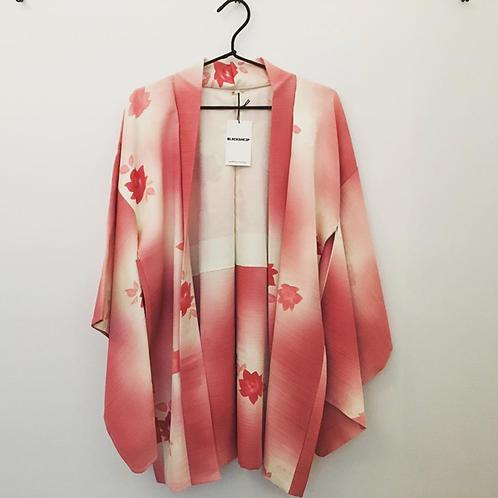 Vintage Pink Camellia Silk Kimono