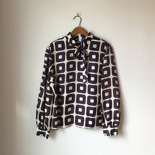 1960s Mod Squares Pussy Blouse