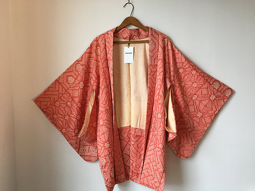 Vintage Salmon Bandana Print Silk Kimono