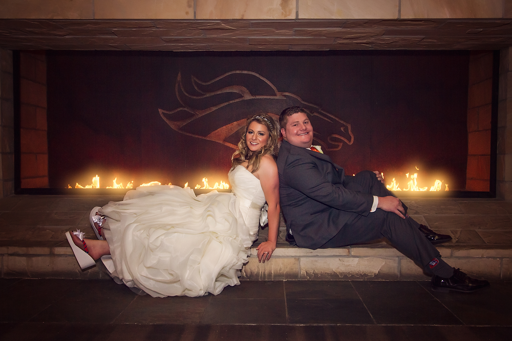 Bronco fireplace wedding
