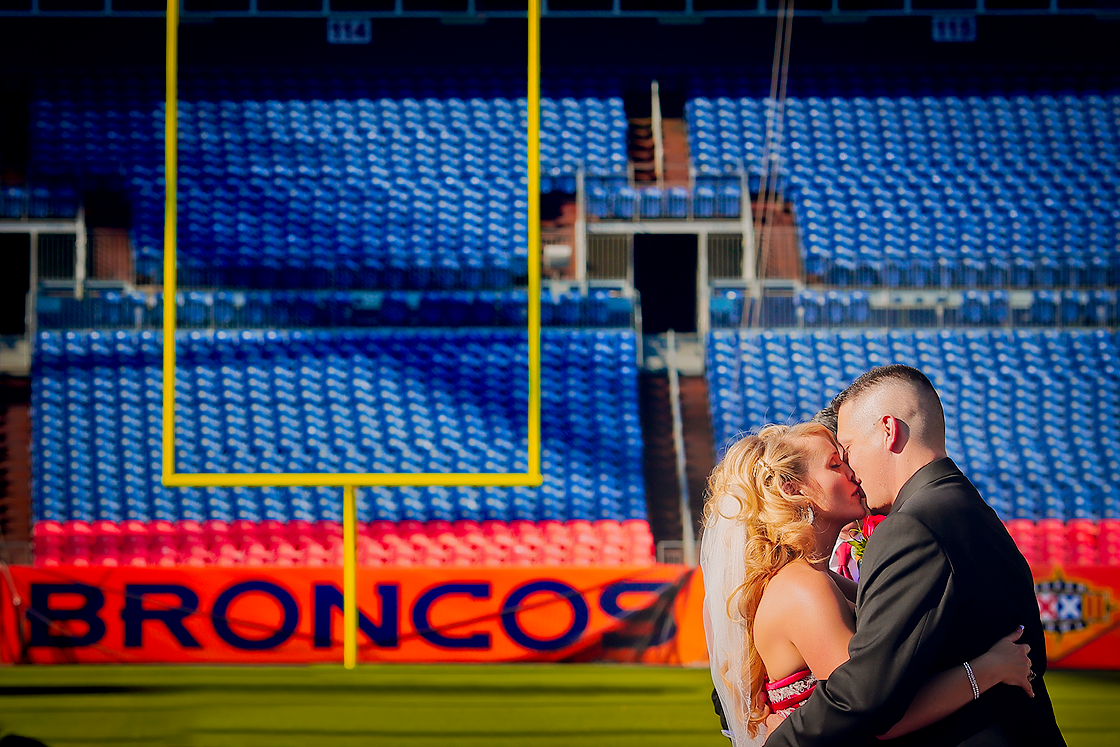 Broncos Football wedding