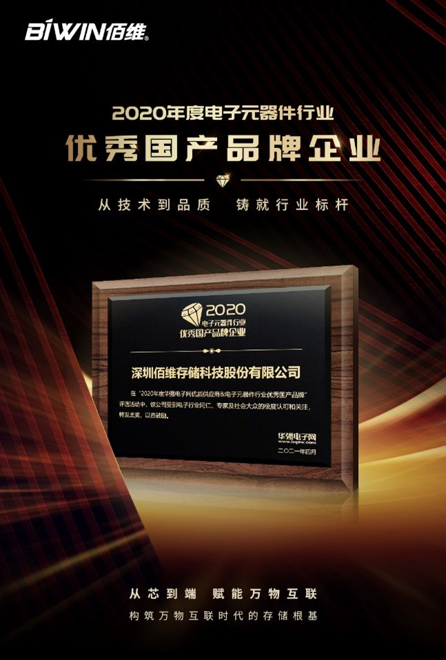 Award for BIWIN: China Outstanding Domestic Brand