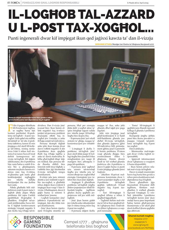Torċa article on gambling and the website