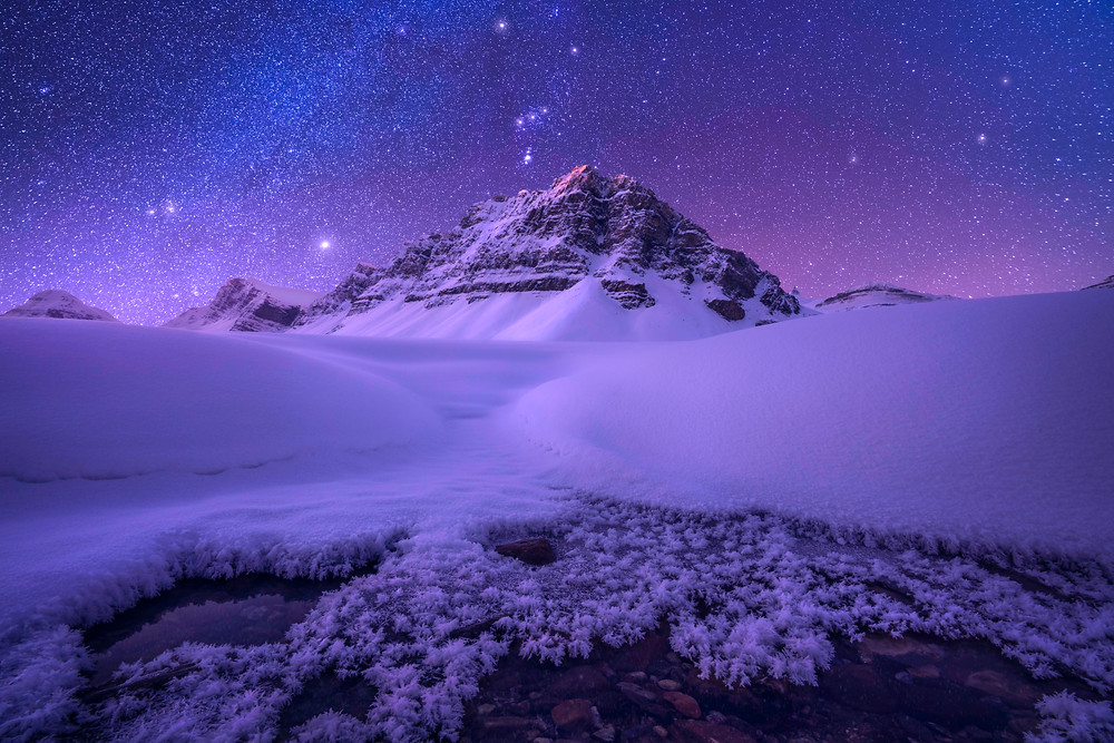 Bow lake, canadian rockies, orion, milky way