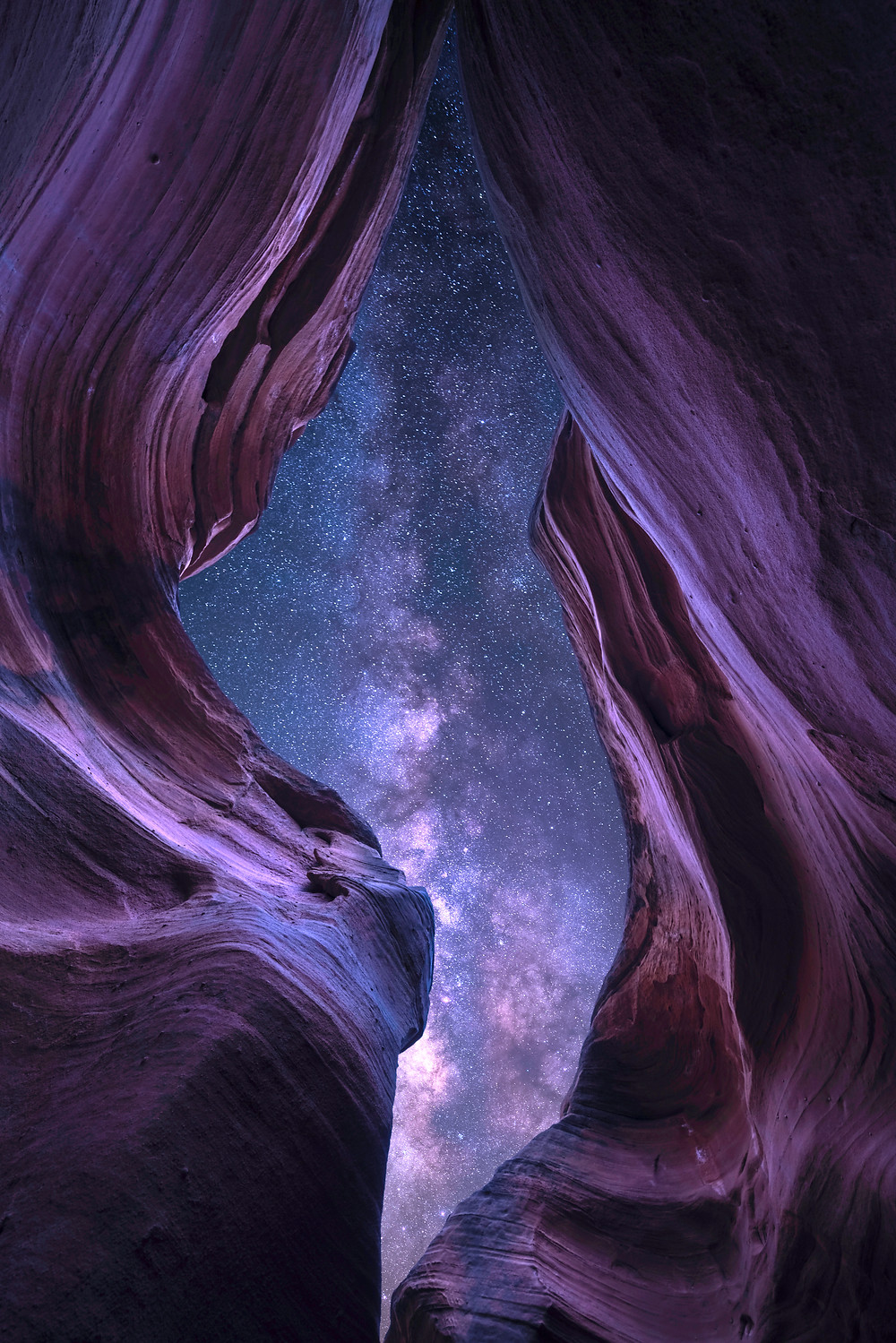 Slot Canyon in Utah with the Milky Way