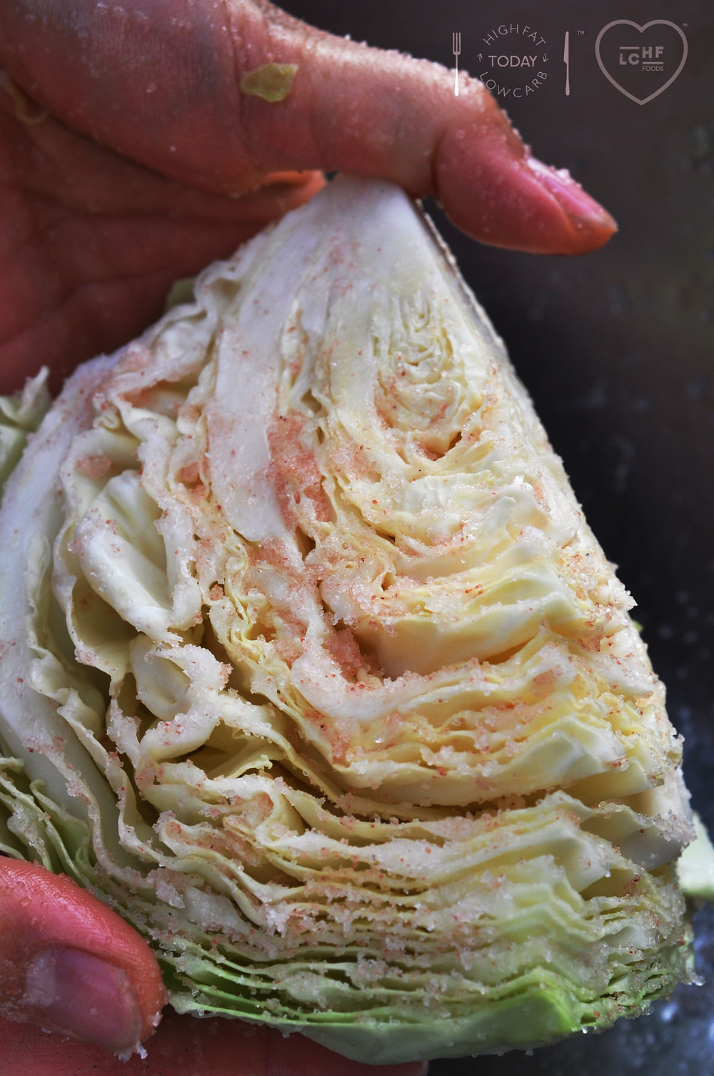 Close up of Cabbage with Pink Salt