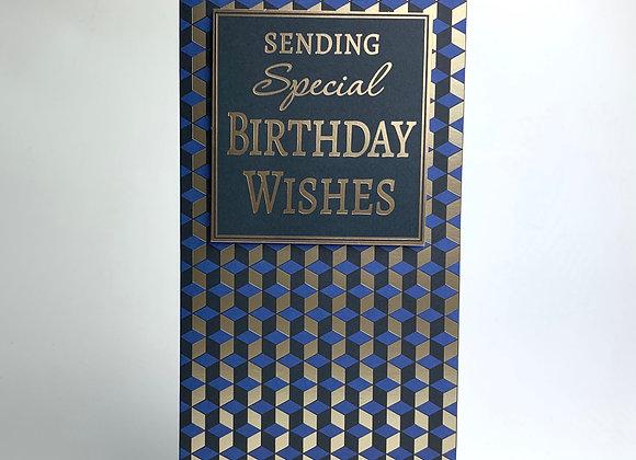 Birthday Card - Blue Geometric