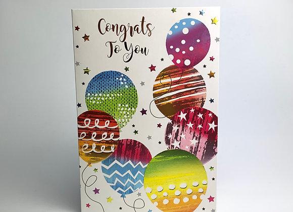 Congratulations Card - Rainbow Balloons