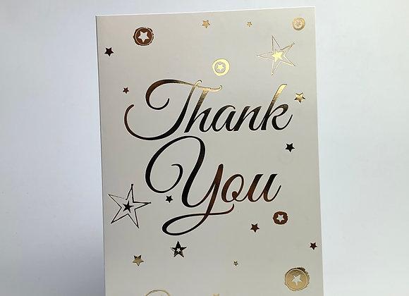 Thank You Card - Metallic Stars