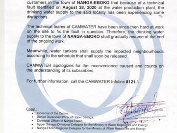 📣 Communiqué : Perturbation de l'approvisionnement en eau potable dans la ville de Nanga-Eboko