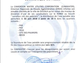 [Urgent] Communiqué de presse - Perturbation distribution de l'eau potable à la cité des palmier