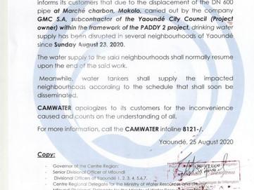 📣 Communiqué : Perturbation de l'approvisionnement en raison des travaux de déplacement de la c
