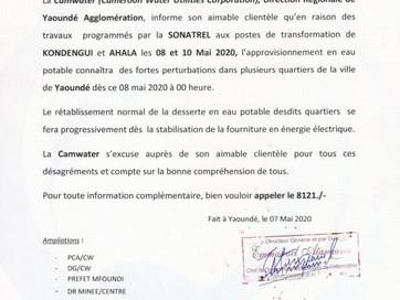 Communiqué : Perturbation de l'approvisionnement  d'Eau Potable dans les villes de Yaoundé e