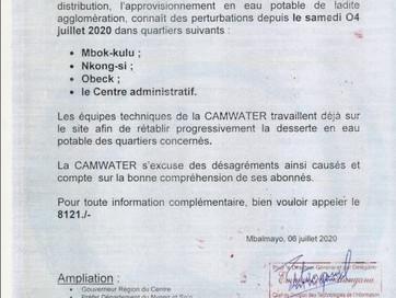 Communiqués : perturbation de la distribution en Eau Potable  dans les villes de Makak et de Mbalmay