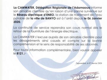 Communiqué : Arrêt de la Station de traitement d'Eau Potable de la ville de BANYO