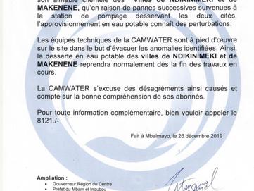 Communiqué : Perturbation de la distribution en Eau Potable dans les villes de Ndikinimeki et Makene