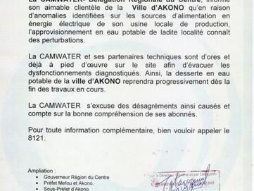 Communiqué : Perturbation de la distribution en Eau Potable dans la Ville d'AKONO