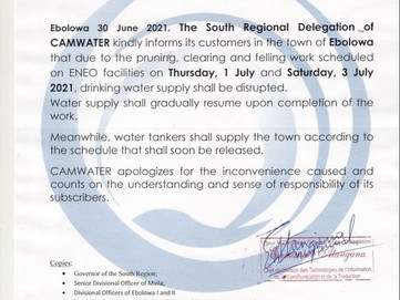 Disrupted drinking water supply